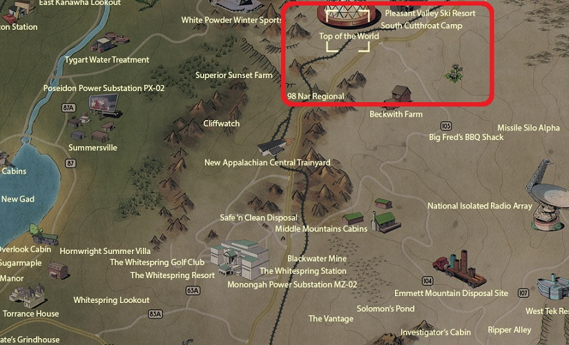 Fallout 76 Glowing Resin Location On Map - Top of the World