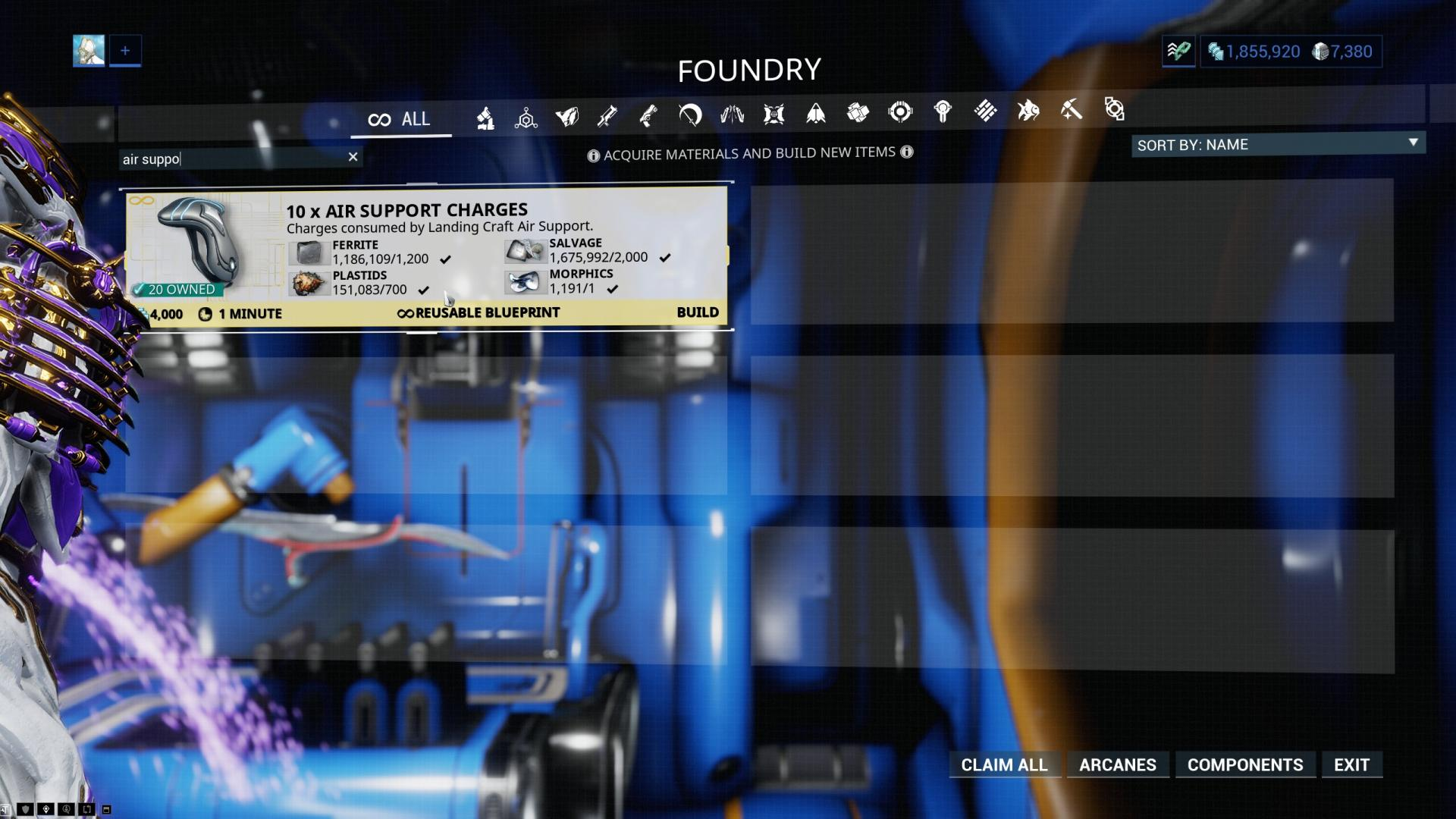 Warframe Air Support Charges Blueprint
