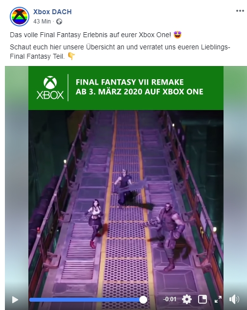 Final Fantasy Remake Xbox Germany Facebook Post