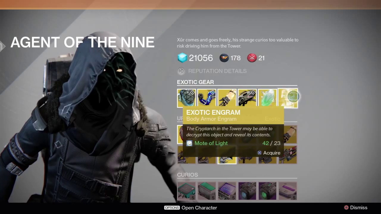Destiny xur agent of the nine location amp items for week 30 apr 3 5