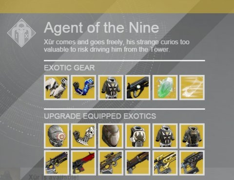Xur Agent Of The Nine Week 34 Exotic Items