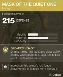 Exotic Mask of The Quiet One Stats Destiny 2