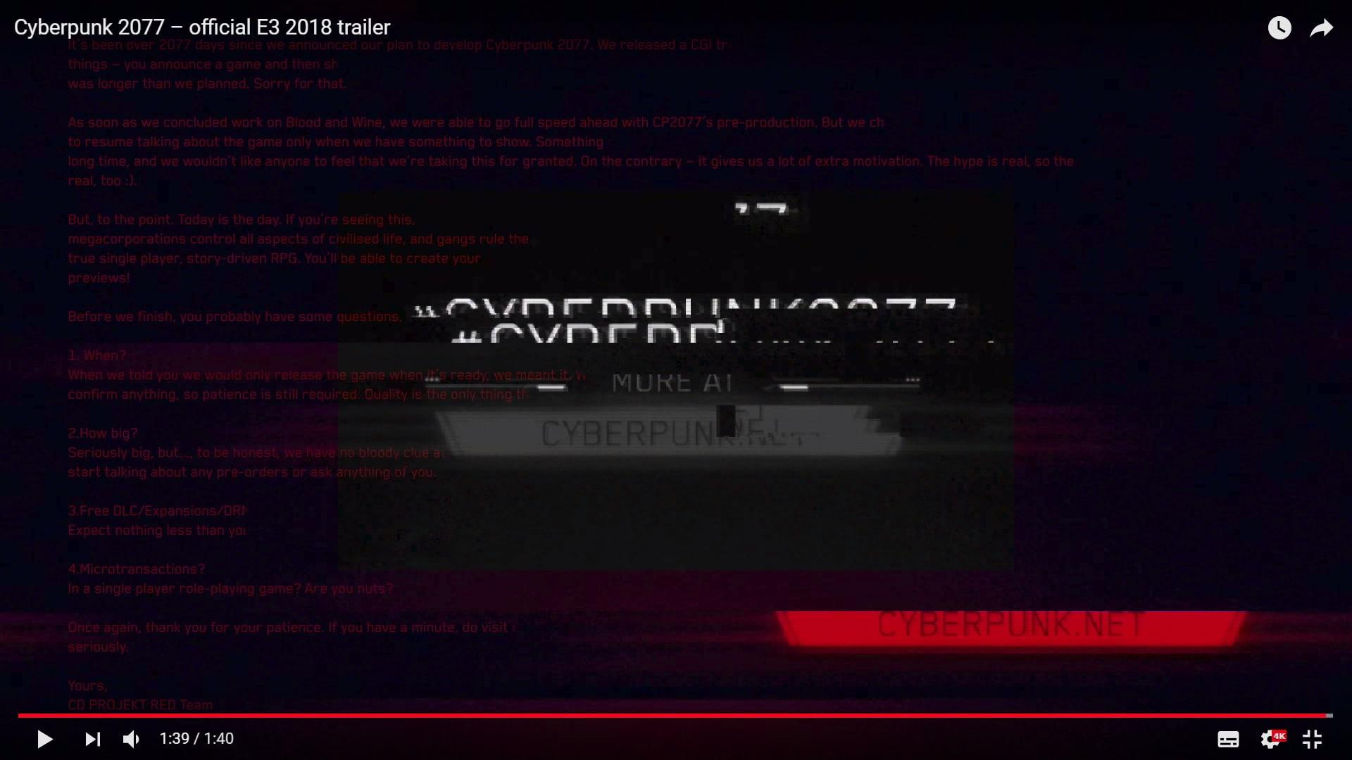 CD Projekt Red's Hidden Message In Cyberpunk 2077 E3 2018 Trailer
