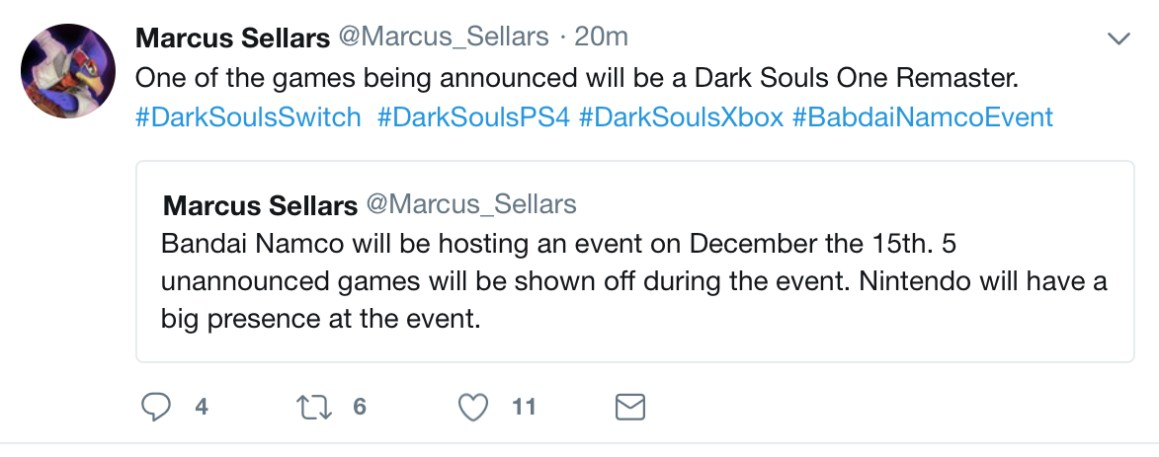 Dark Souls 1 Remastered Rumor Tweet