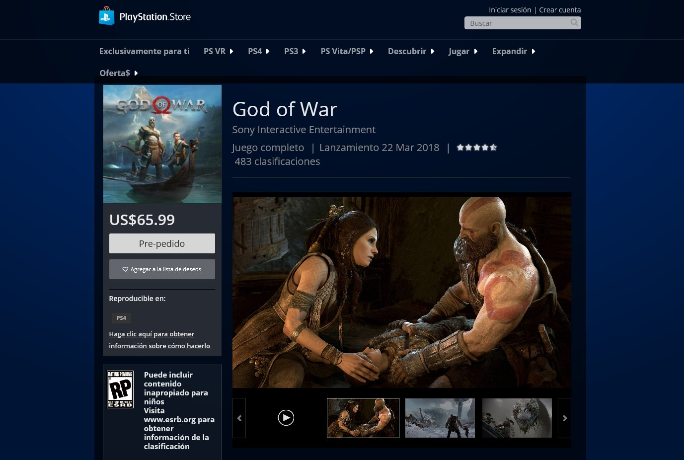 Report: God Of War's Release Date Has Been Leaked On Chile's PlayStation Store