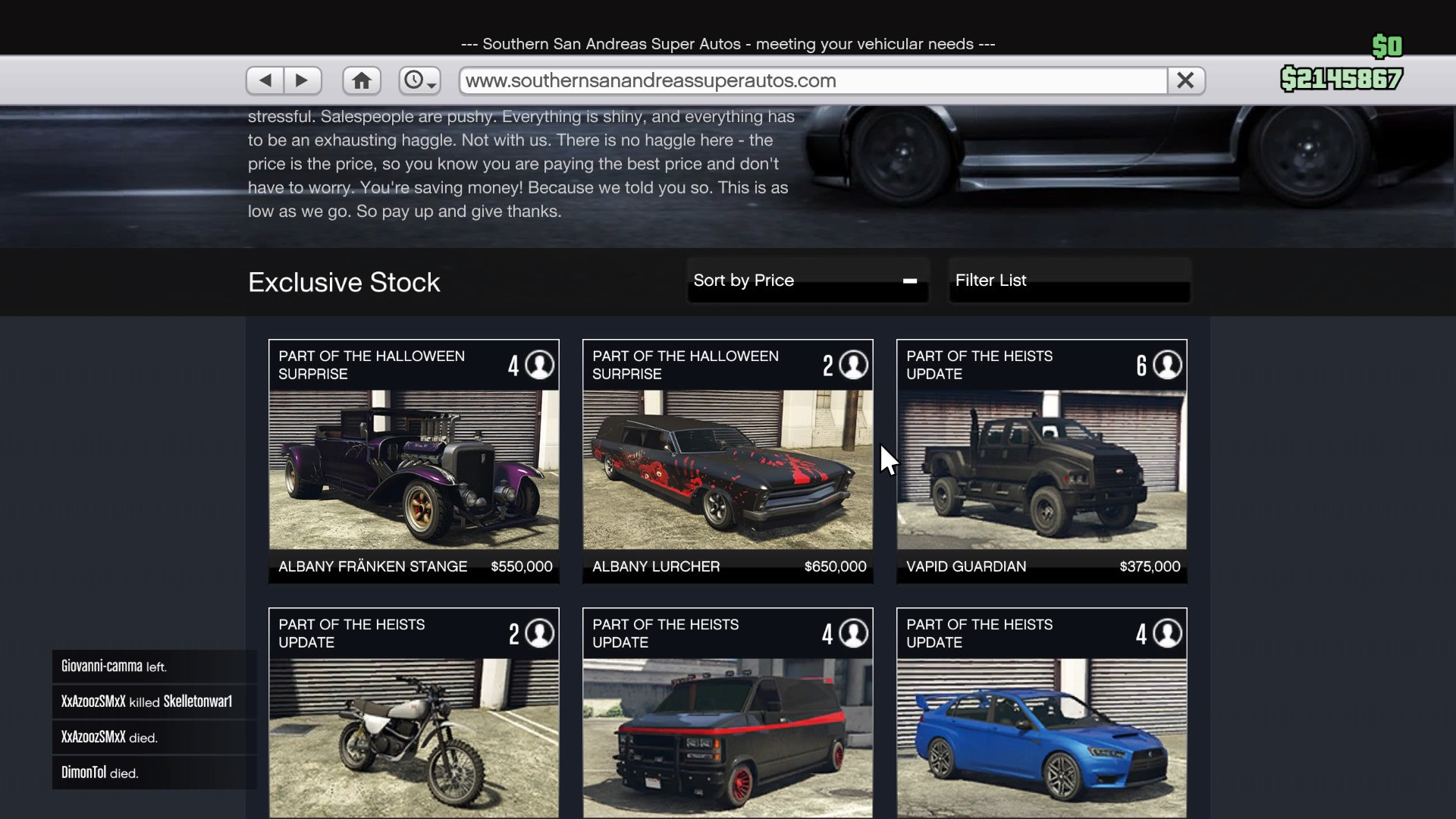 GTA V: Halloween Update Cars List, Unlock Method and Price: Albany ...