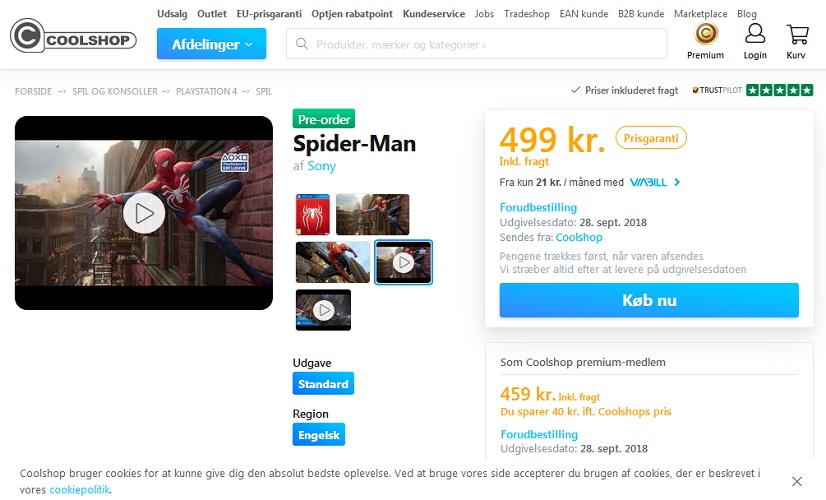 Spider-Man PS4 Listing At CoolShop