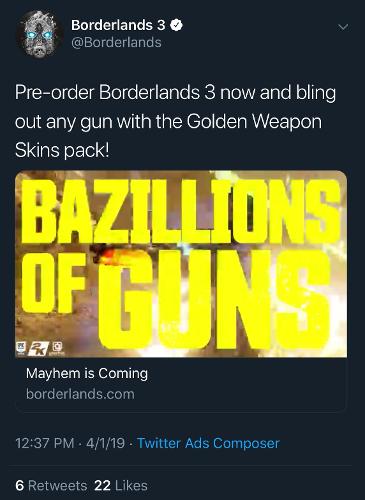 borderlands-3-epic-game-store-exclusive-tweet