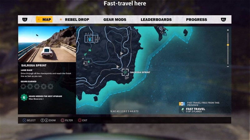 just cause 3 where to find f1 car location