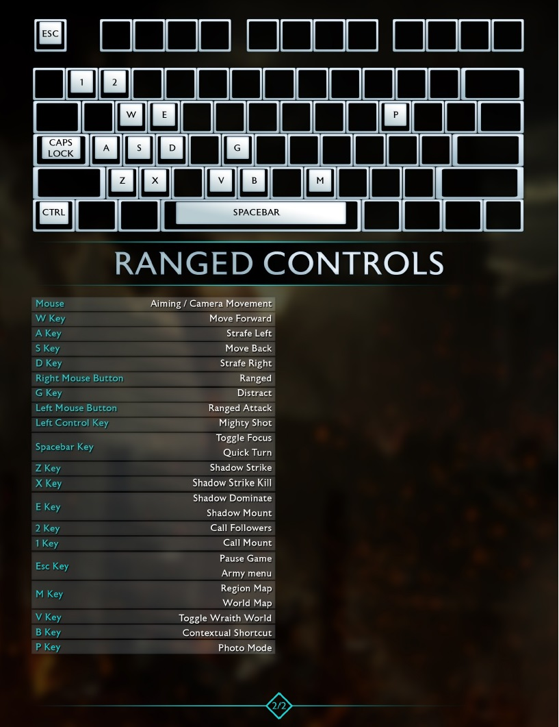 Keyboard And Mouse Controls Middle Earth Shadow Of War