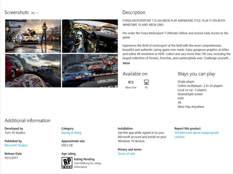 Forza Motorsport 7 said to be a 100 GB game (at least on PC and ...