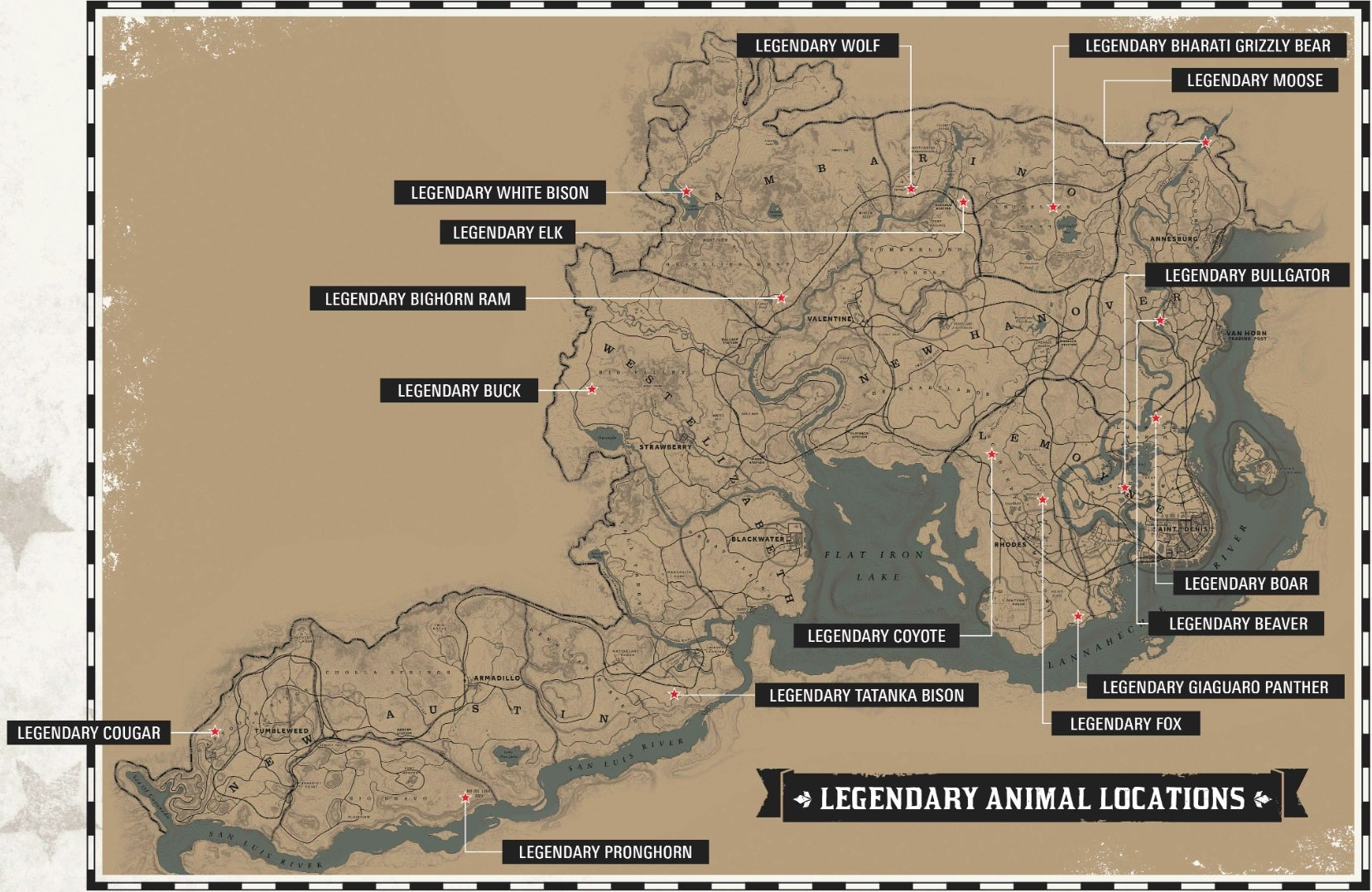 animal map red dead redemption 2
