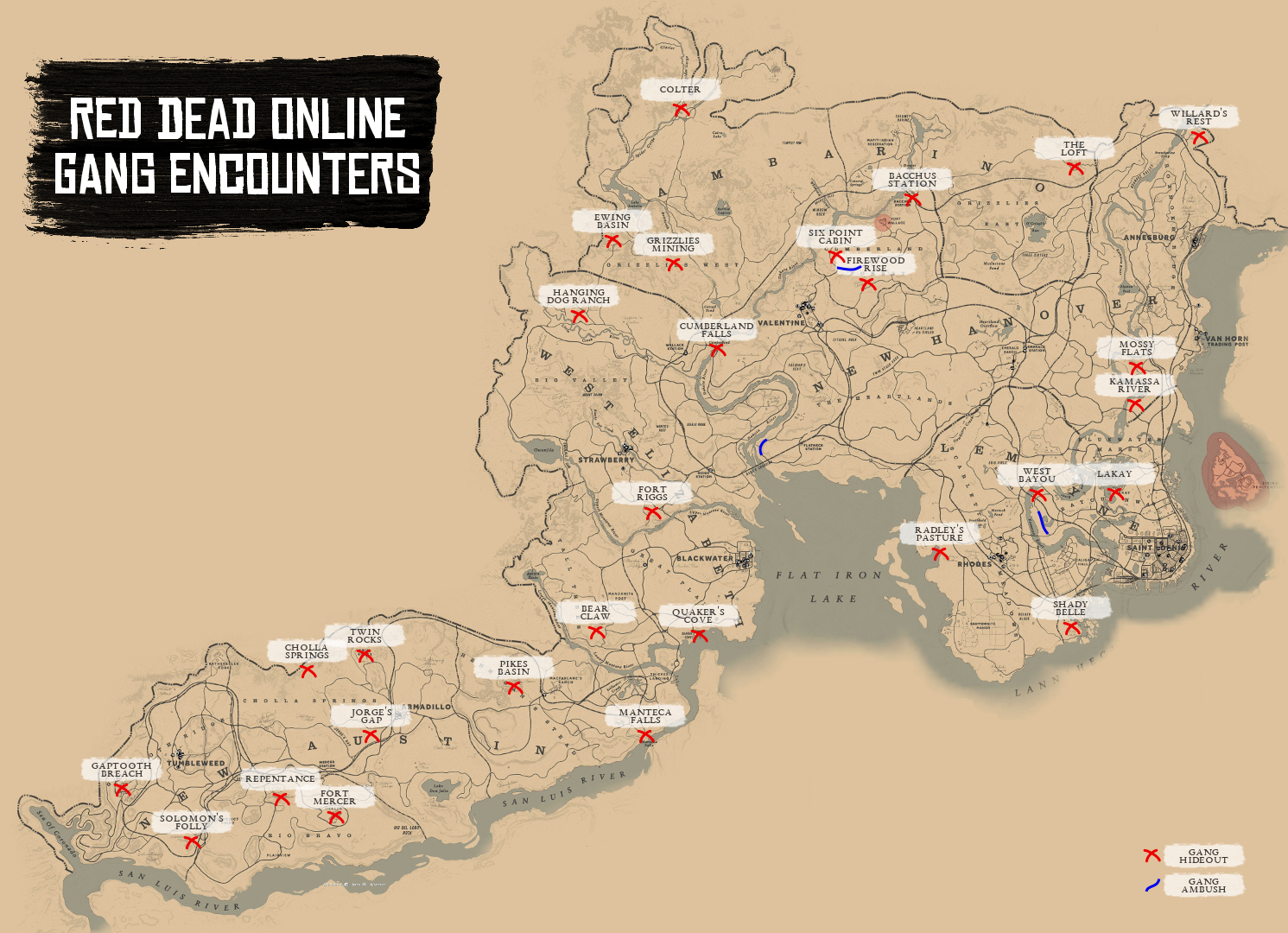 red dead online all gang hideout spawn map locations