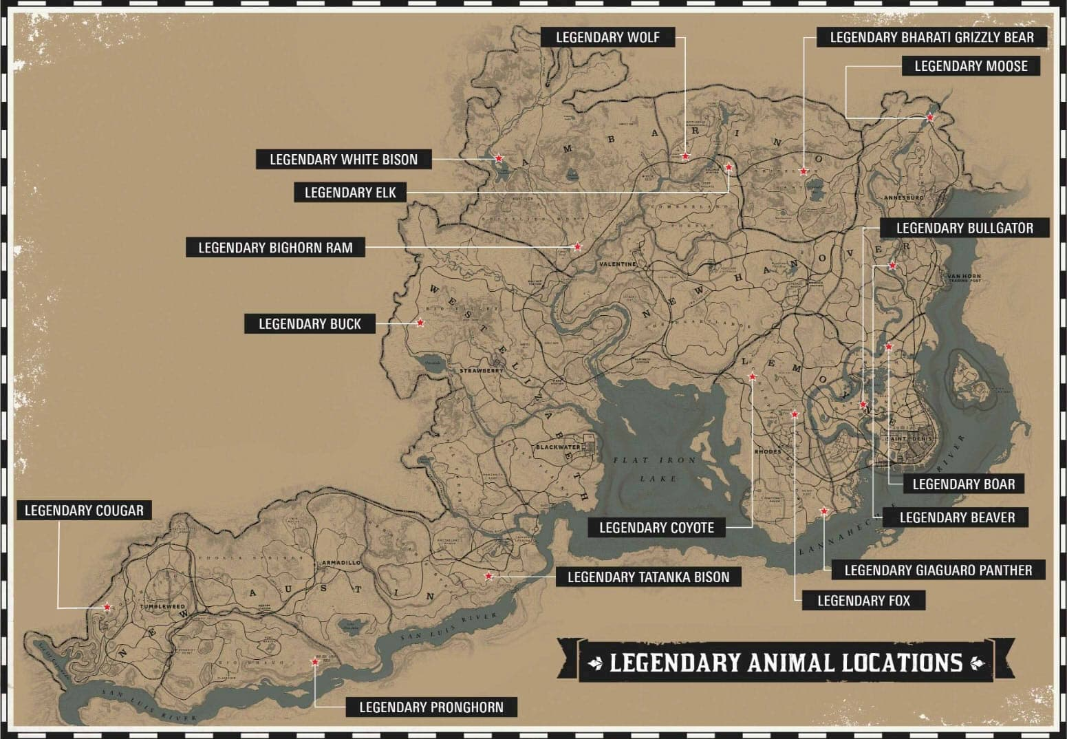 Map of the legendary animals in Red Dead Redemption 2