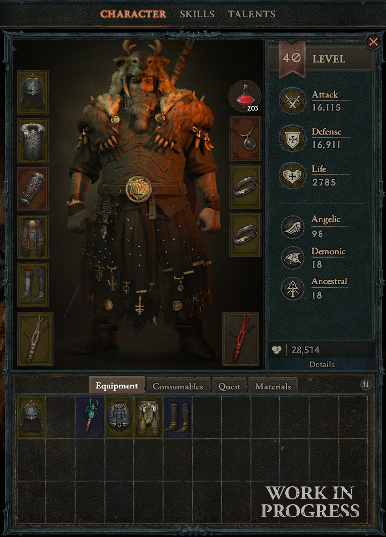Diablo 4 inventory screen