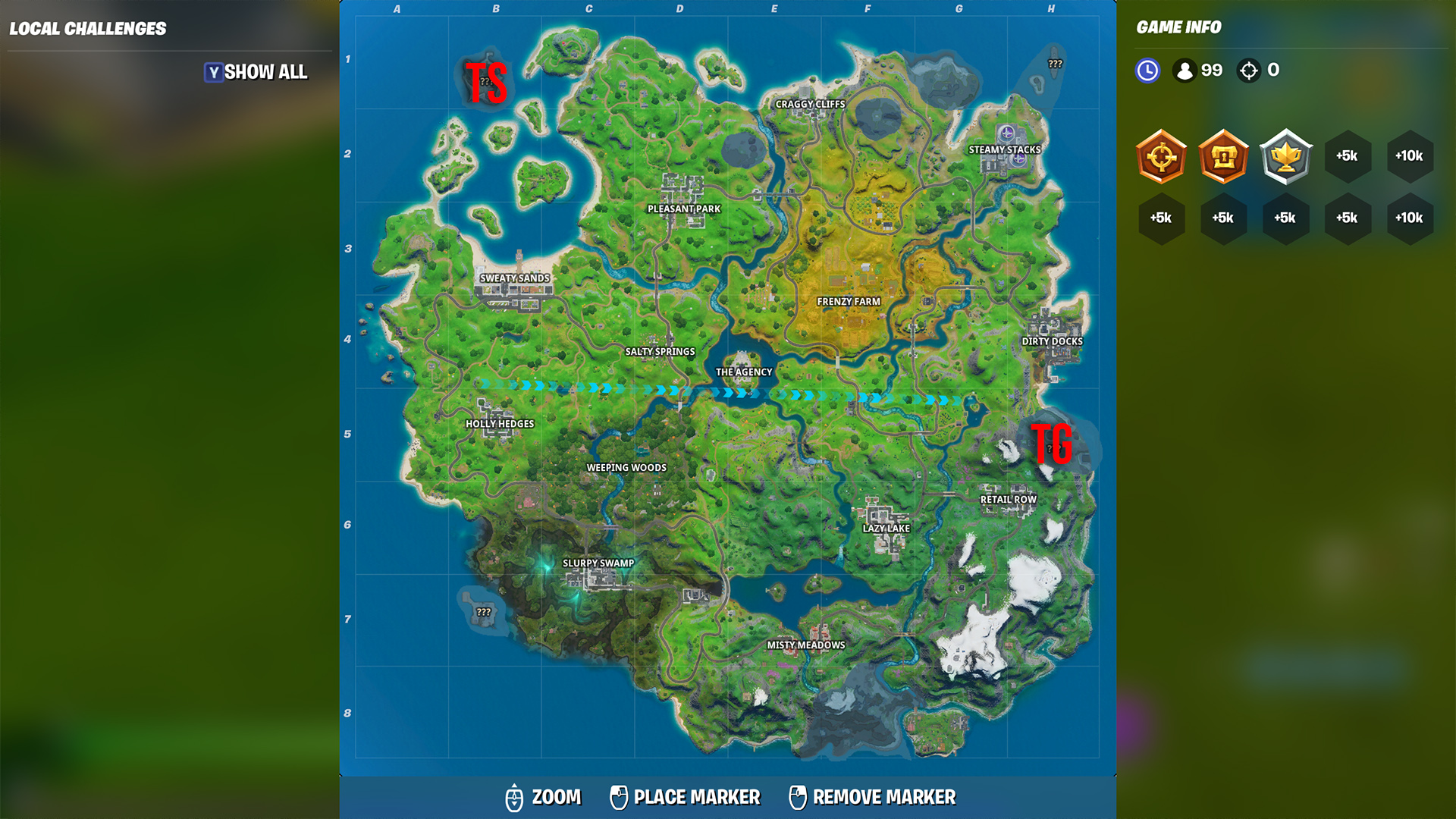 The Shark and Grotto Locations