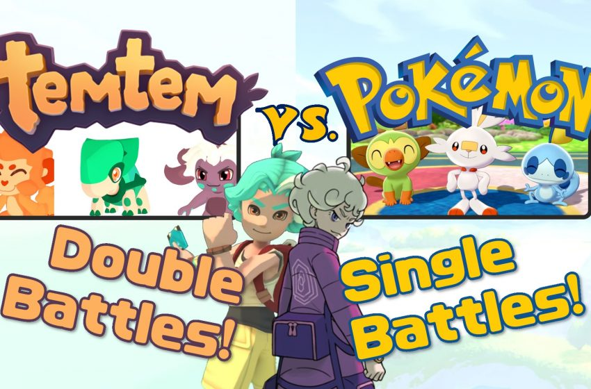 A picture showing the logos, starters and rivals of both Temtem and Pokémon