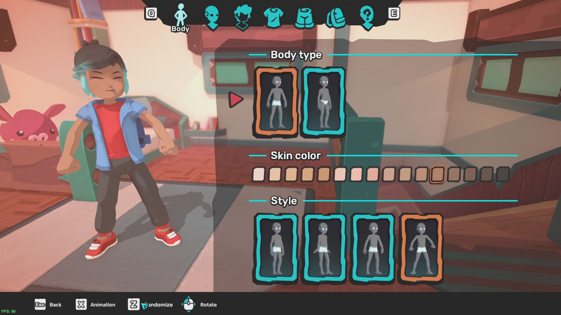 A look at the Temtem tamer body type, skin color  and walk style screen.