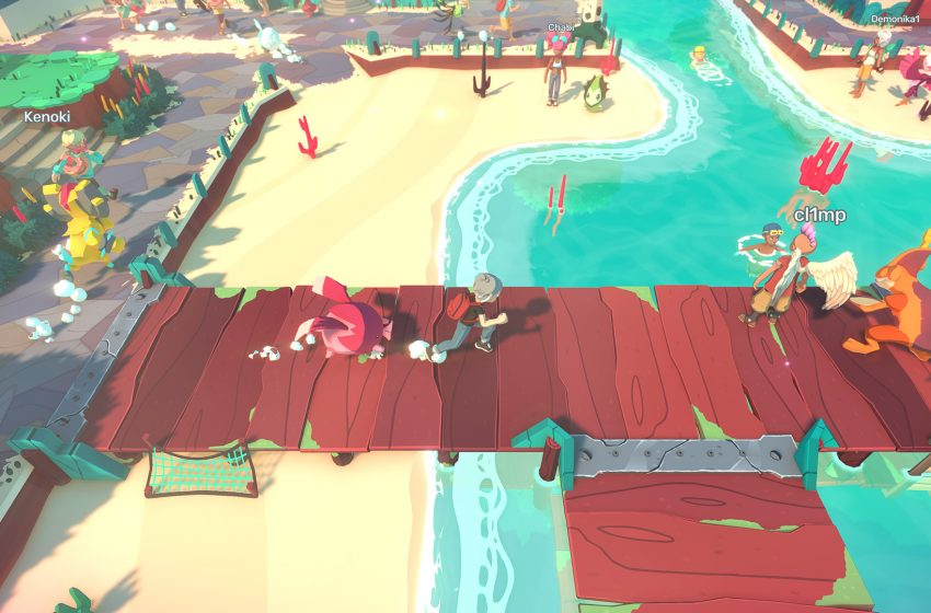 Beach with a dock and a player running across it with a Temtem behind them.