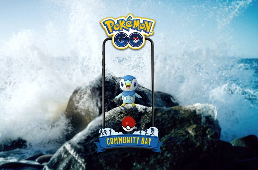 Piplup Pokemon on a phone screen on a background of ocean waves