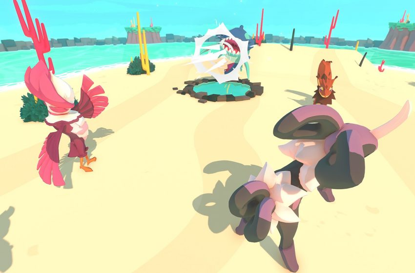Four monsters in battle on a sand and beach setting.