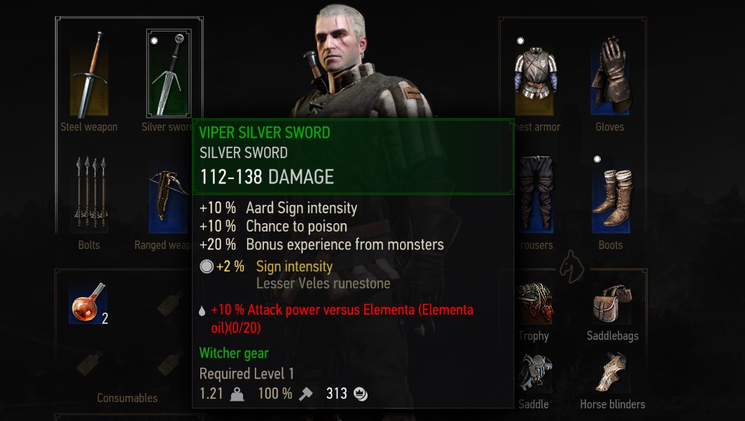 Special Green-text Witcher Gear for XP Boosts