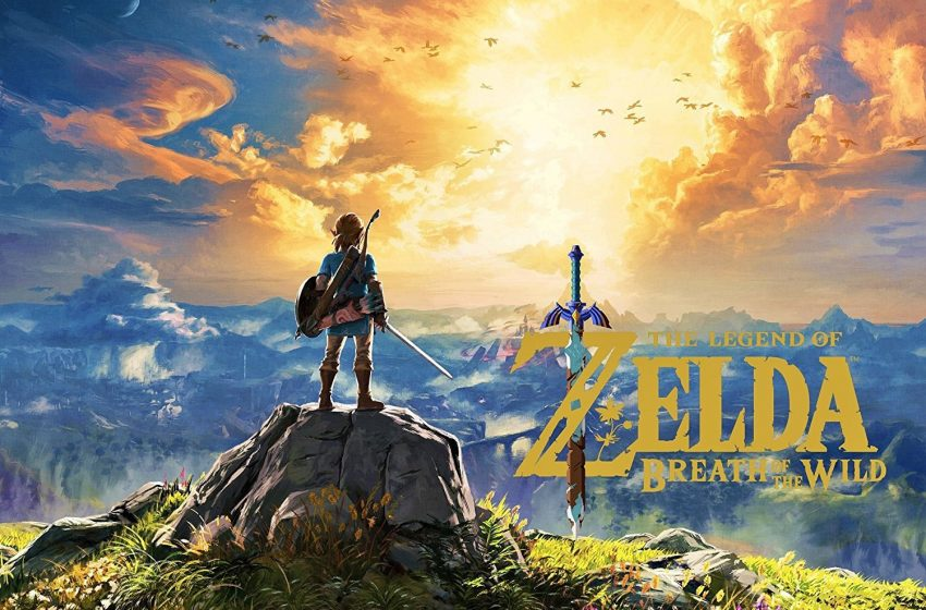 Zelda on a mountain overlooking scenery with title