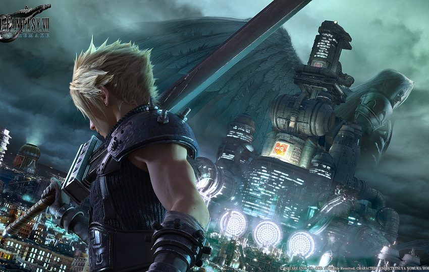 Blond character with a sword in front of a futuristic city with winged silhouette in the distance