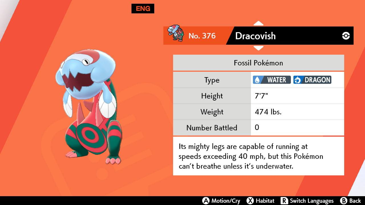 Dracovish in front of an orange screen with a pokedex entry on the right