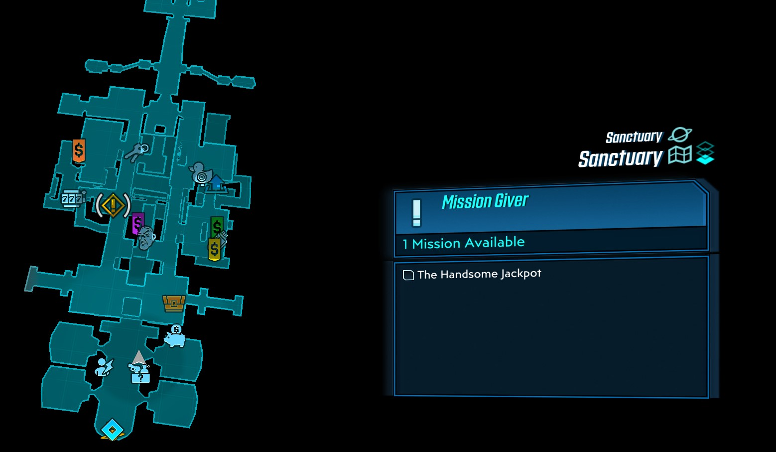 The Location of the Handsome Jack Mission Icon