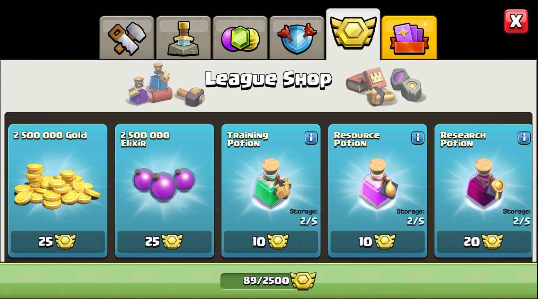 Clash of Clans League Store