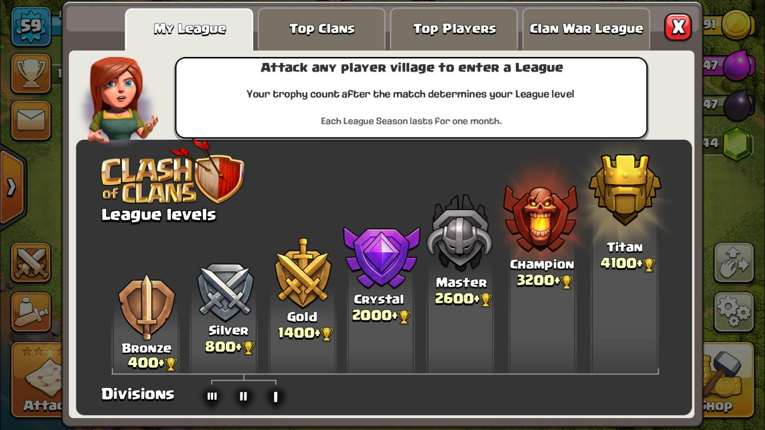 Clash of Clans League structure