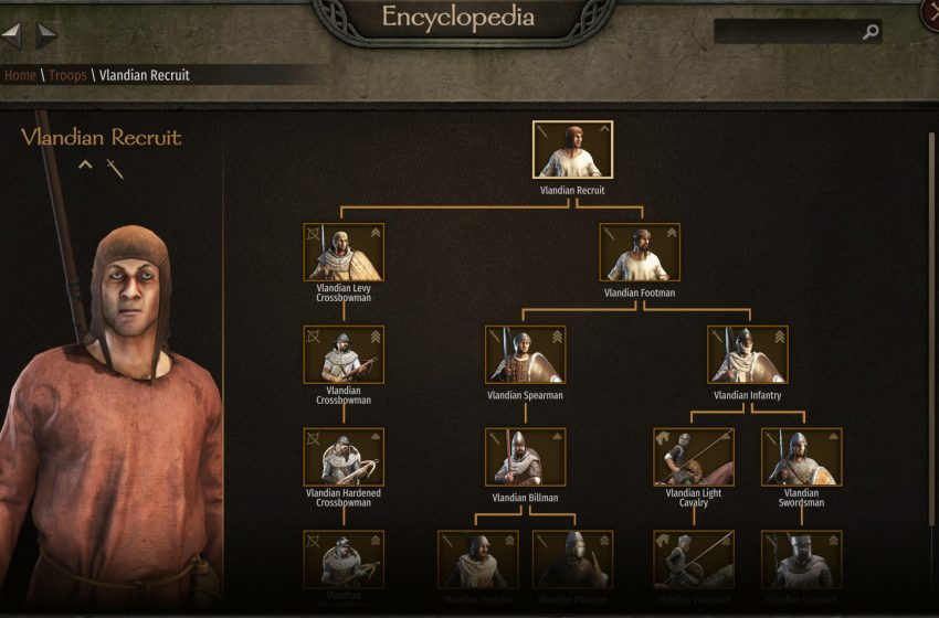 What are the troop trees in Mount and Blade II: Bannerlord?