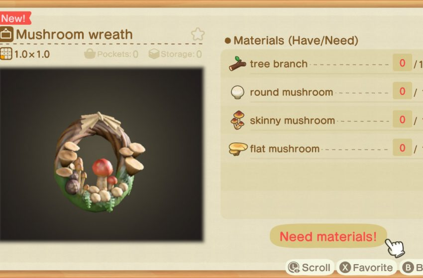 How to get all of the seasonal mushroom DIY recipes in Animal Crossing: New Horizons