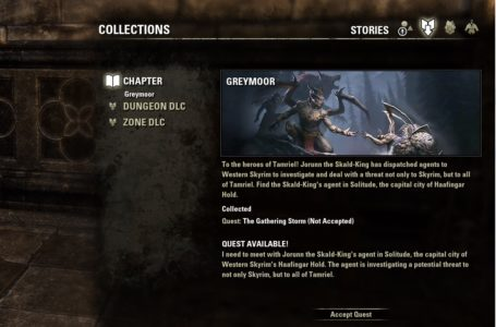 How to start the Greymoor chapter quest The Gathering Storm in The Elder Scrolls Online
