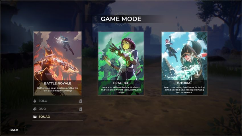 game mode screen