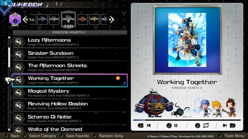Kingdom Hearts: Melody of Memory jukebox