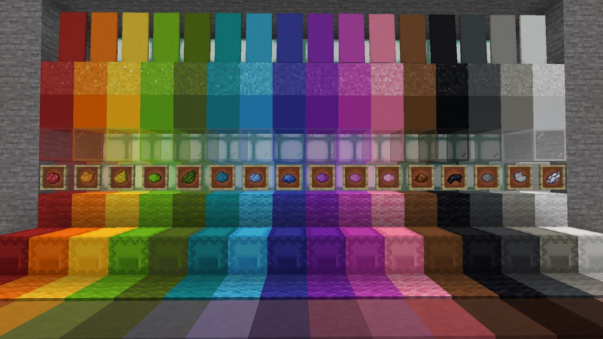 Every color of dye in Minecraft