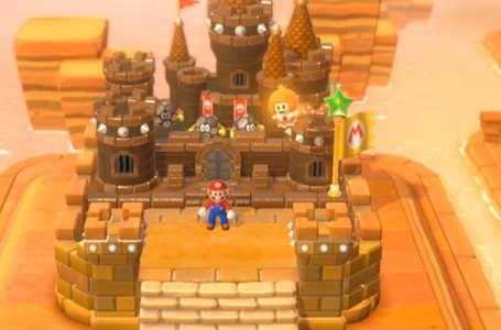 Where is the stamp in the World 4 castle level, Lava Rock Lair in Super Mario 3D World + Bowser's Fury?