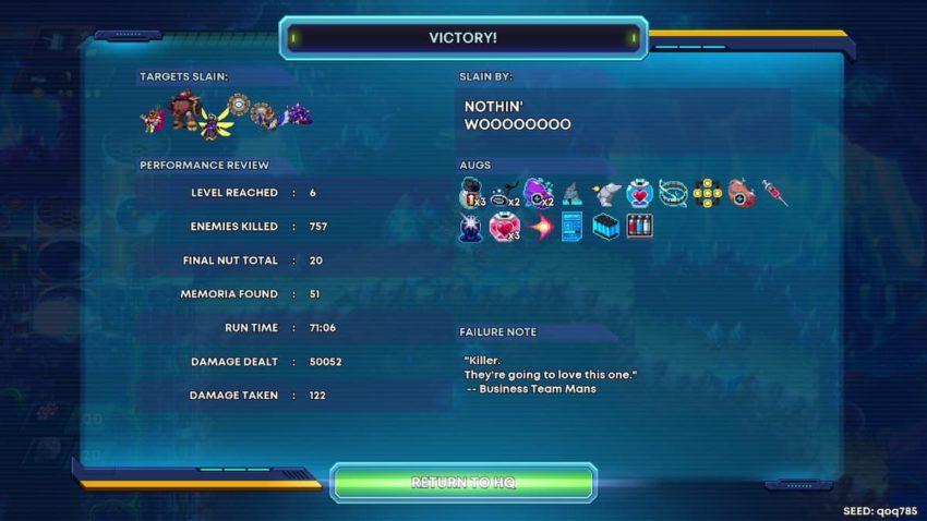 30XX Victory screen