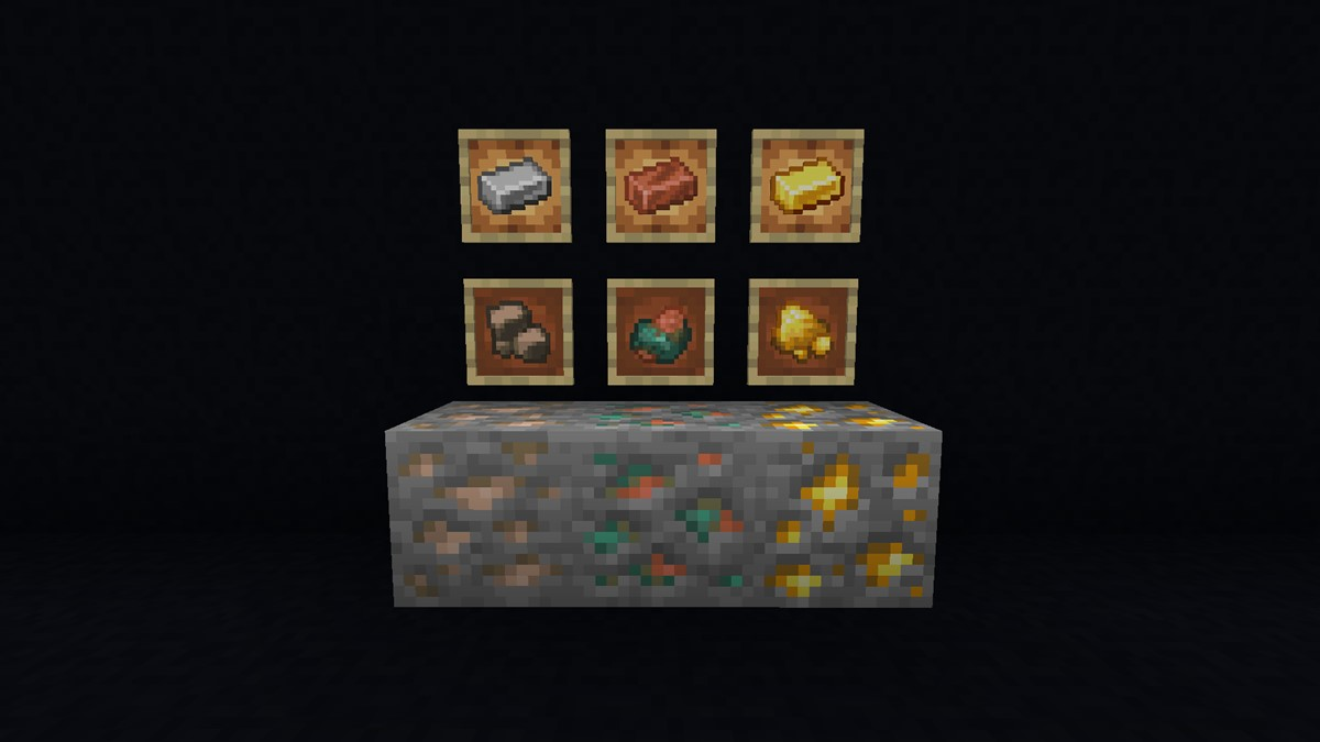 Raw Ores and an Ore's Timeline, includes Iron, Copper and Gold