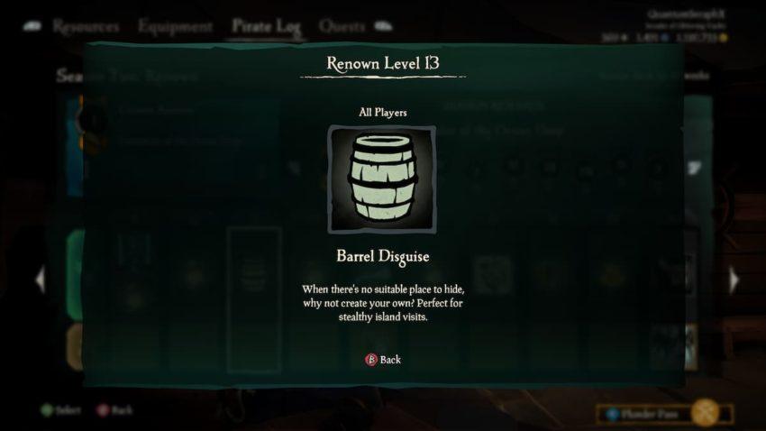 Sea of Thieves Season Two Barrel Disguise Emote