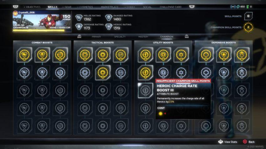 Marvel's Avengers Champion System
