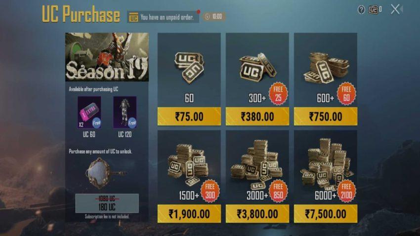 BGMI Battlegrounds Mobile India UC Buy