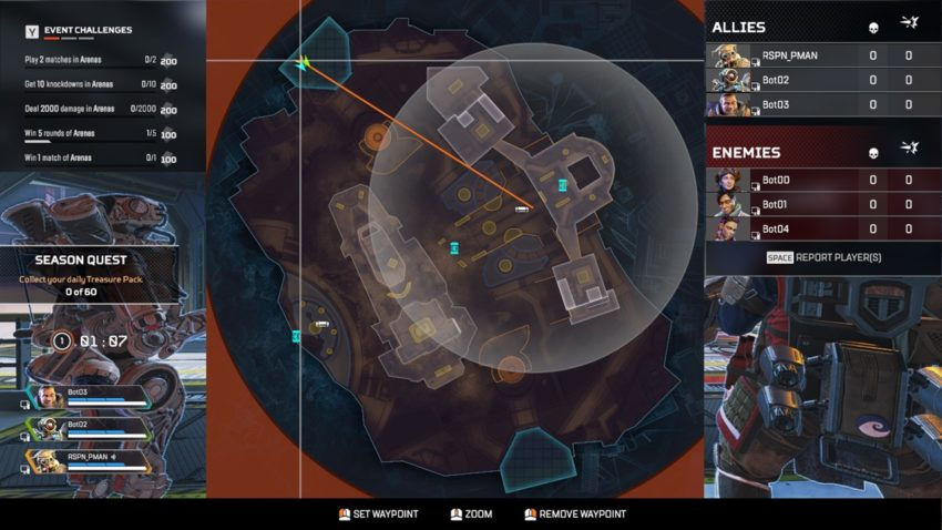 The map screen. It has the challenge tracker in the top left corner, the map in the middle, and the scoreboard in the top right corner.