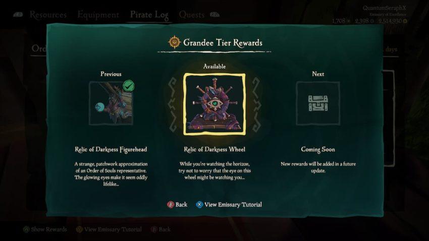 Sea of Thieves Emissary Ledger Rewards
