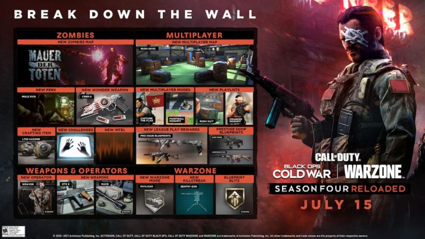 Call of Duty: Black Ops Cold War Warzone season 4 Reloaded roadmap