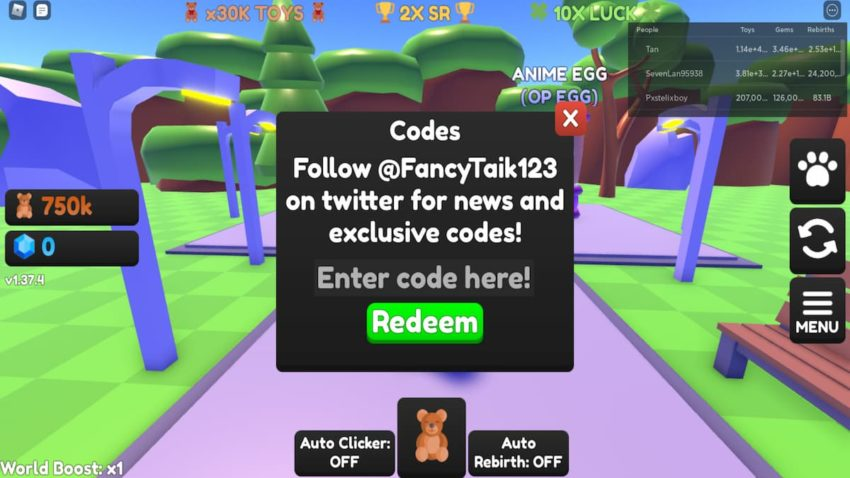 Roblox Toy Clicking Simulator working Codes