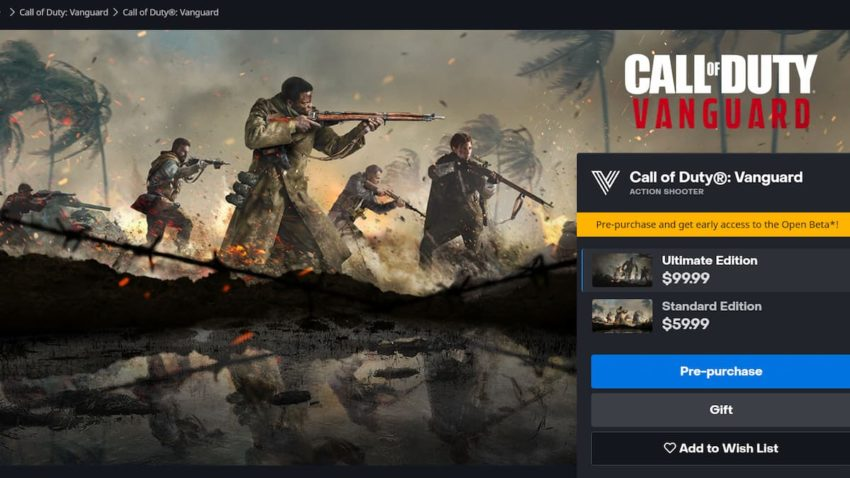 how to preorder Call of Duty Vanguard