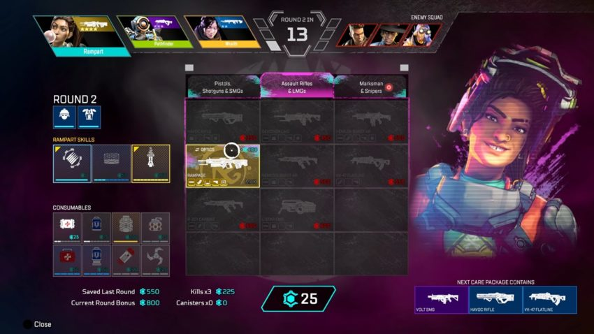 Rampart Extravaganza Arenas Takeover weapon select